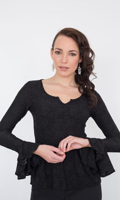 Haut Juliette Noir Profond - vêtements femme - designer québécois - Monarcky