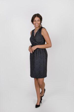 Robe Anne de Bretagne Gris Fusain - vêtements pour femmes - designer Montréal - Monarcky