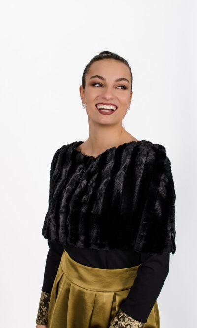 Cape Édith noir - vêtements fait au Québec - designer québécois en ligne - Monarcky