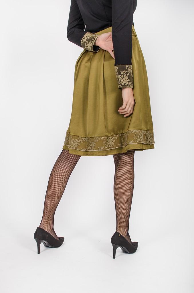 Jupe Alice kaki - vêtements fait au Québec - designer de mode - Monarcky