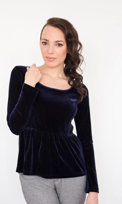 Haut Victoria Bleu Pénombre - vêtements femme - designer québécois en ligne - Monarcky