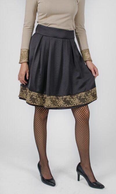 Jupe Alice Noir Profond - dentelle kaki - designer québécois pour femme - boutique en ligne - Monarcky