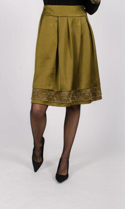 Jupe Alice Kaki - dentelle kaki - designer québécois pour femme - boutique en ligne - Monarcky