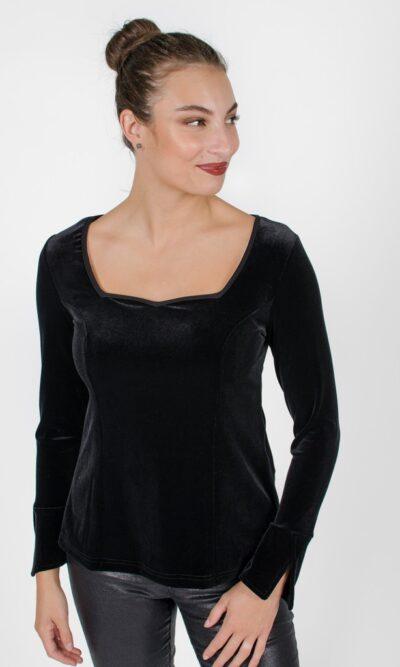 Haut Charlotte Noir Profond - vêtements pour femmes - designer québécois en ligne - Monarcky