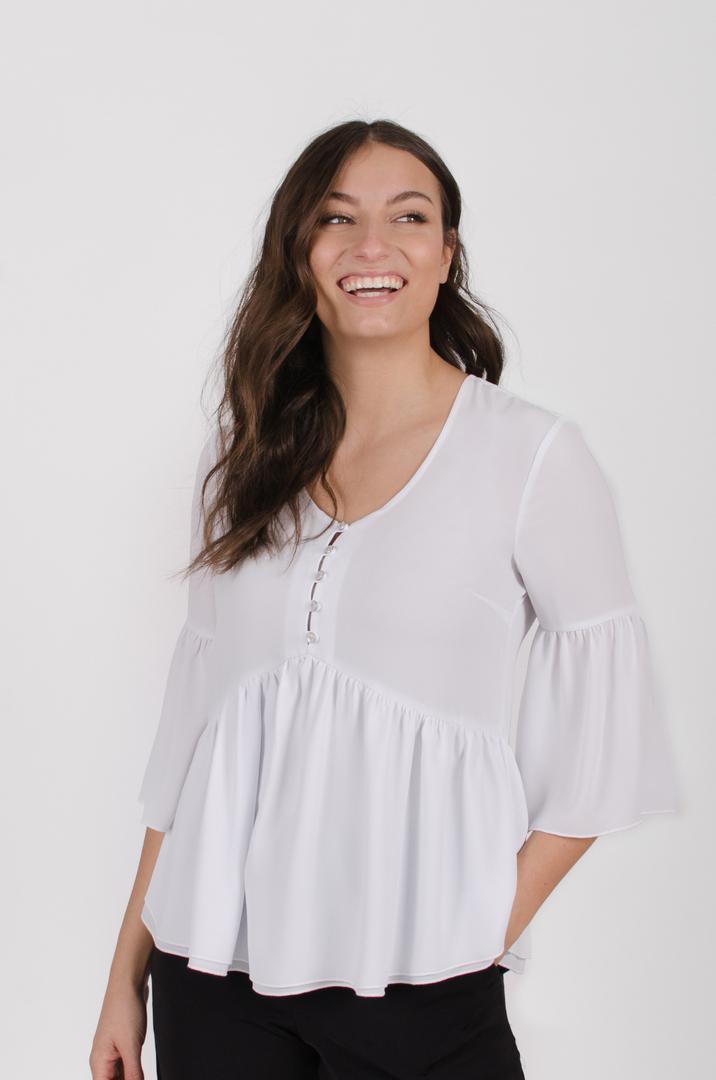 Blouse Marguerite - blanc | designer québécois en ligne - vêtements femme - Monarcky