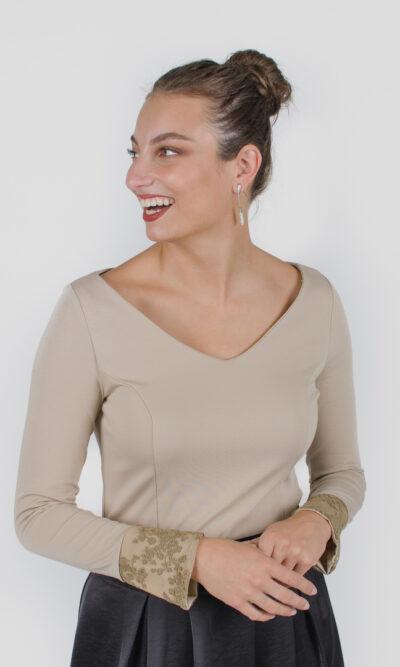 Chandail Mary Beige et kaki | designer québécois vêtements femme - boutique en ligne - Monarcky
