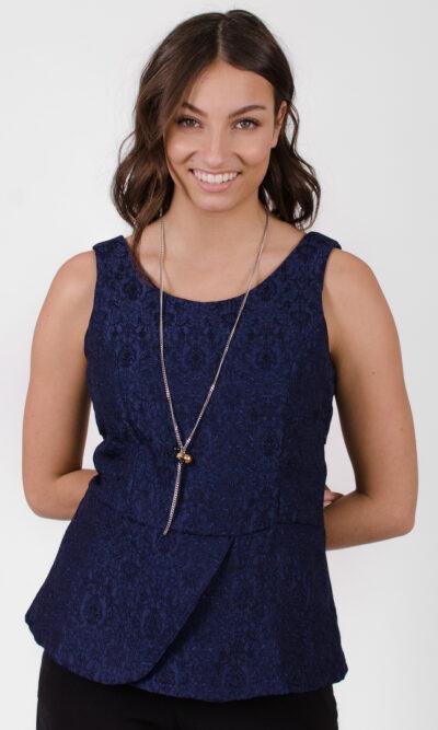 Haut Agnes - Bleu Symphonie | designer québécois en ligne - vêtements femme - Monarcky