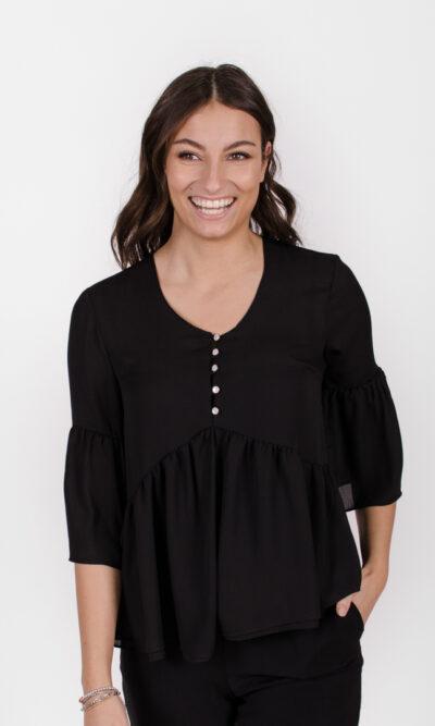 Blouse Marguerite - noir profond | designer québécois vêtements femme - boutique en ligne - Monarcky