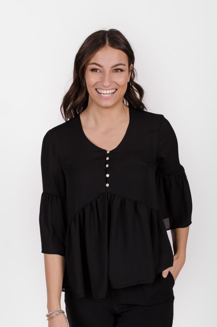 Blouse Marguerite - noir profond   designer québécois vêtements femme - boutique en ligne - Monarcky