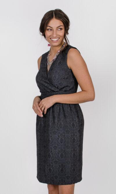 Robe Anne de Bretagne -gris fusain | vêtements pour femmes - designer québécois en ligne - Monarcky