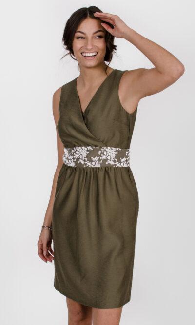 Robe Anne de Kiev - Vert olive | designer québécois - boutique en ligne vêtements femme - Monarcky