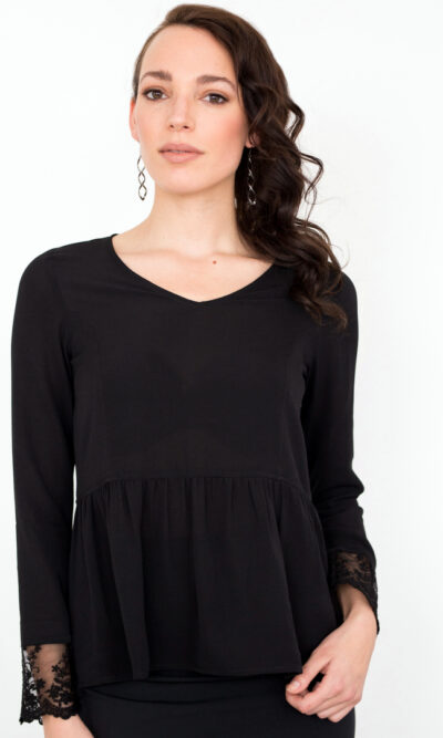 Blouse Hélène noir profond | Designer Québécois de vêtements pour femme | Monarcky- Boutique en ligne