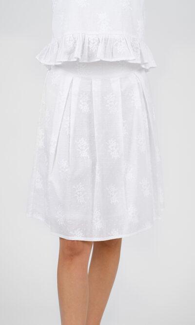 Jupe Alicia devant, blanc brodé, vêtements pour femmes   Designer québécois en ligne   Monarcky