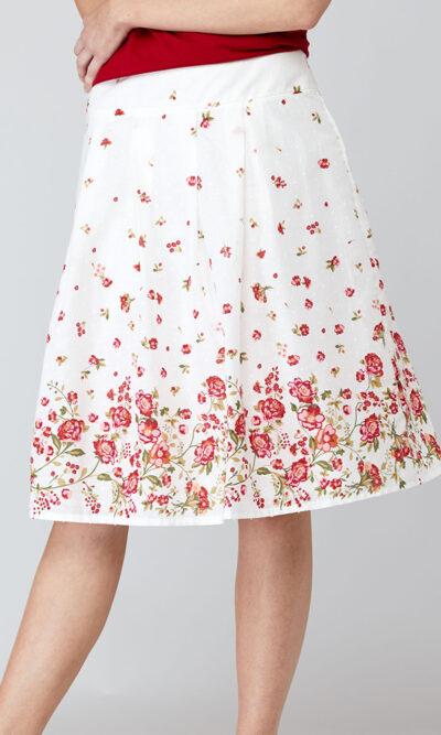 Jupe Alicia devant, roses rouges, vêtements pour femmes   Designer québécois en ligne   Monarcky