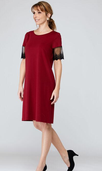 Robe Mafalda devant, rouge écarlate, vêtements pour femmes | Boutique de vêtement québécois en ligne | Monarcky, designer québécois