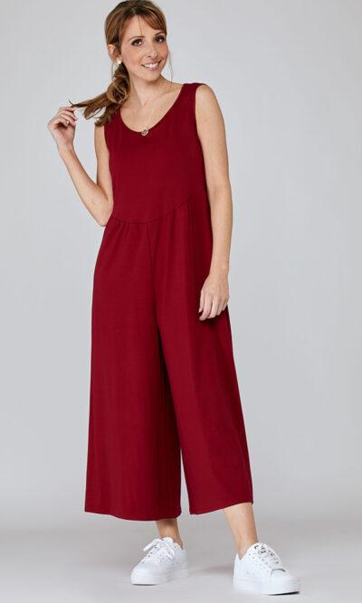 Combinaison Catherine devant, rouge écarlate, vêtements pour femmes | Boutique de vêtement québécois en ligne | Monarcky, designer québécois