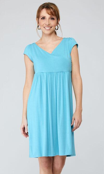 Robe Cléophée devant, bleu aqua, vêtements pour femmes   Designer québécois en ligne   Monarcky